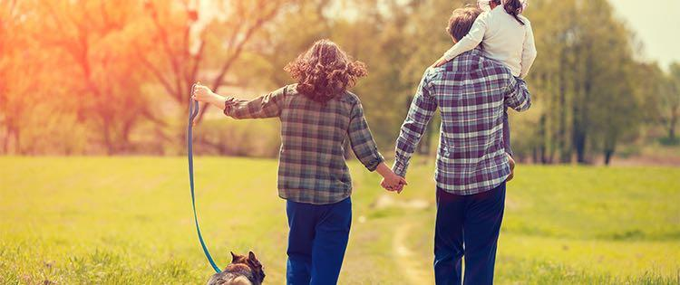 Photo of a man and woman holding hands while walking their dog and carrying their daughter in a park