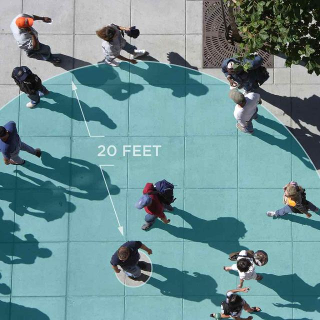 Photo of a group of people showing 20 feet distance.