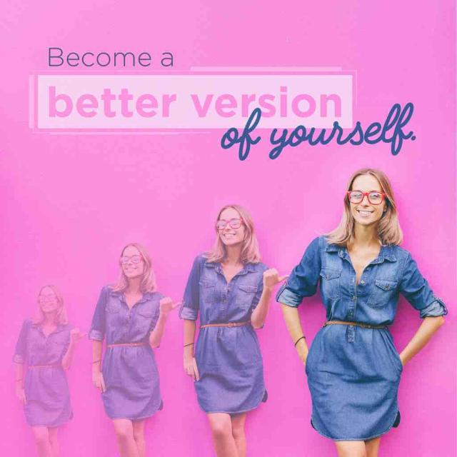 "Photo of a woman gradually becoming more colorful with text saying ""become a better version of yourself"""