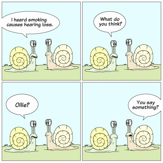 Cartoon strip of two snails talking to one another, but one has hearing loss and can't hear what the other is saying.