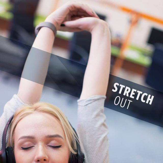 "Photo of a blonde woman stretching her arms overhead with text saying ""stretch out."""