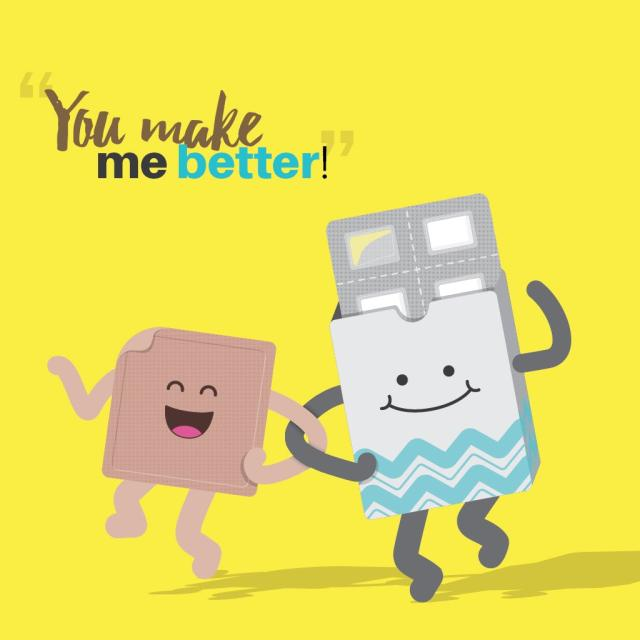 "Image of cartoon nicotine patch and nicotine gum smiling and holding hands with text saying ""You make me better!"""