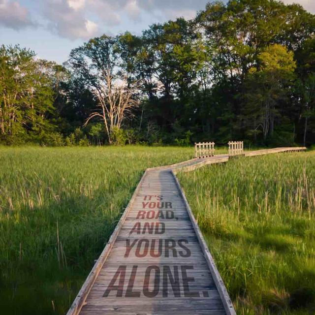 "Photo of a boardwalk surrounded by grass and trees with text saying ""It's your road, and yours alone."""