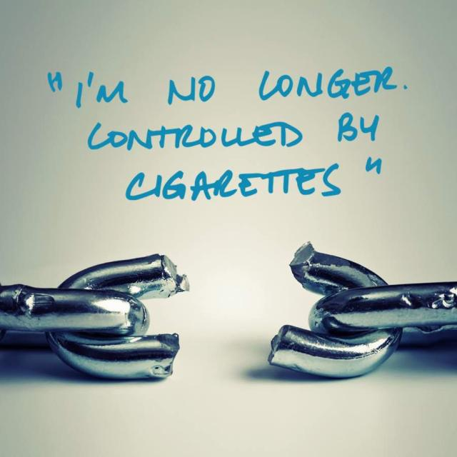 "Photo of a broken metal chain with text saying ""I'm no longer controlled by cigarettes."""