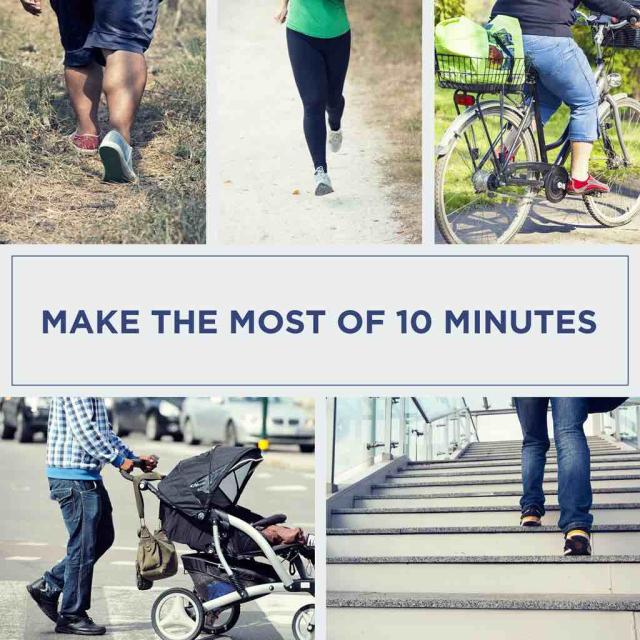 "Collage of photos of exercising legs with text saying ""Make the most of 10 minutes"""