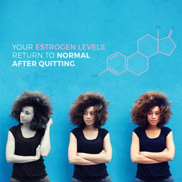 "Three photos of a young black woman progressively getting more colorful with text saying ""Your estrogen levels return to normal after quitting."""
