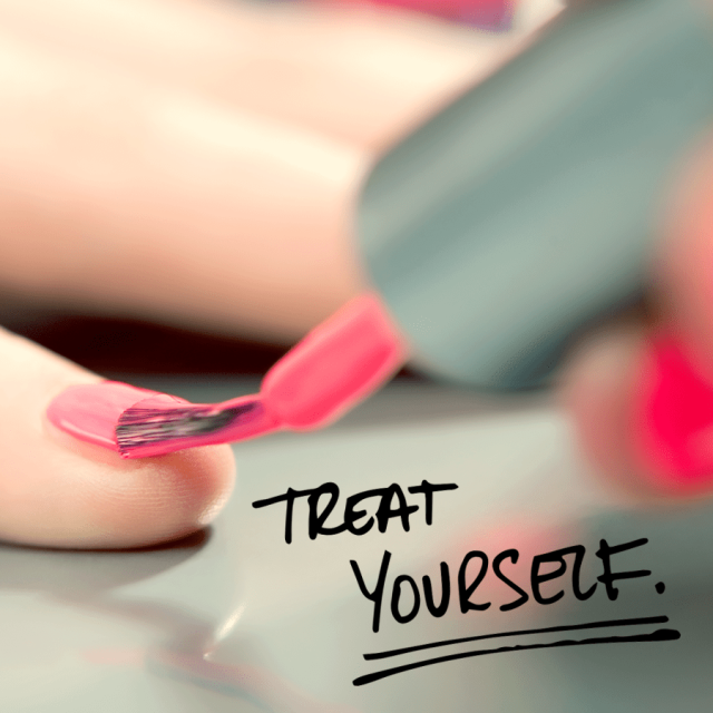 "Photo of a woman's nails getting painted pink with text saying ""Treat yourself."""